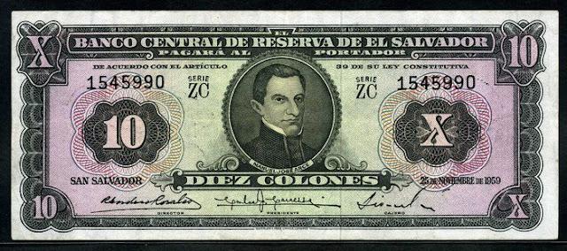 El Salvador banknotes 10 Colones bank notes money currency bills