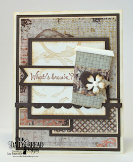 North Coast Creations Stamp Set:What's Brewin'?, Artistic Outpost Stamp Set: Grunge Elements, Paper Collection: Vagabond Treasures, Custom Dies: Beverage Cups, Double Stitched Rectangles, Pierced Rectangles, Double Stitched Squares, Bitty Borders, Bitty Blossoms, Squares, Pennant Flags, Double Stitched Pennant Flags