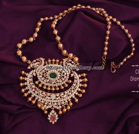 Diamond Pendant with Gold Beads Set by Swarnsri Jewellers