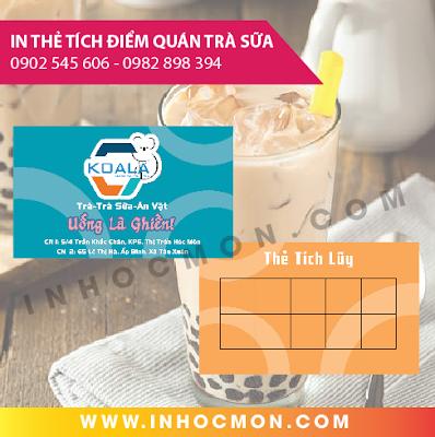 thẻ tích điểm quán trà sữa Koala
