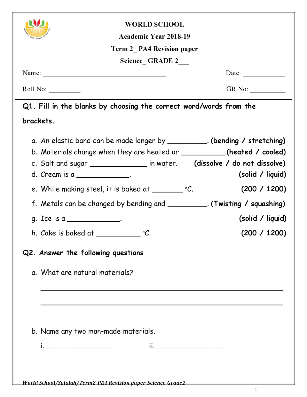 WORLD SCHOOL OMAN Homework For Grade 2 As On 11 04 2019