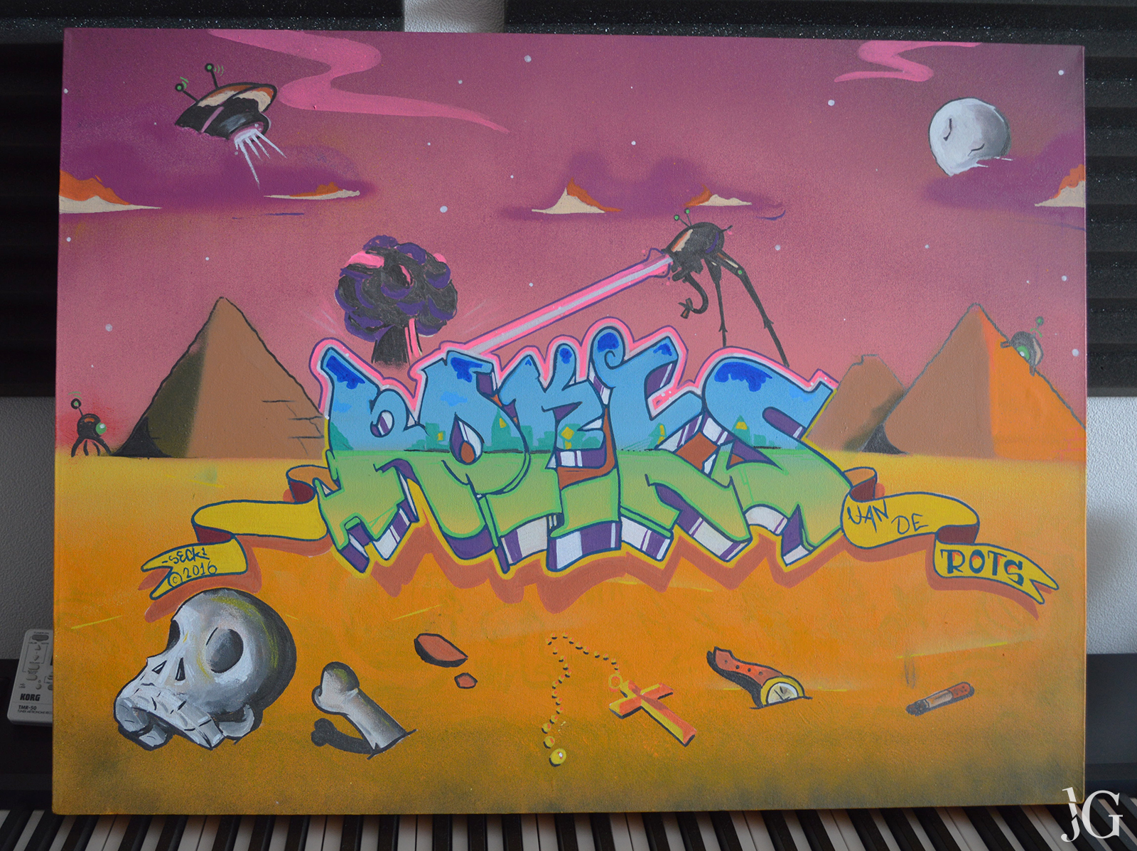 Custom Graffiti Canvas Painting For Rocks Van De Rots