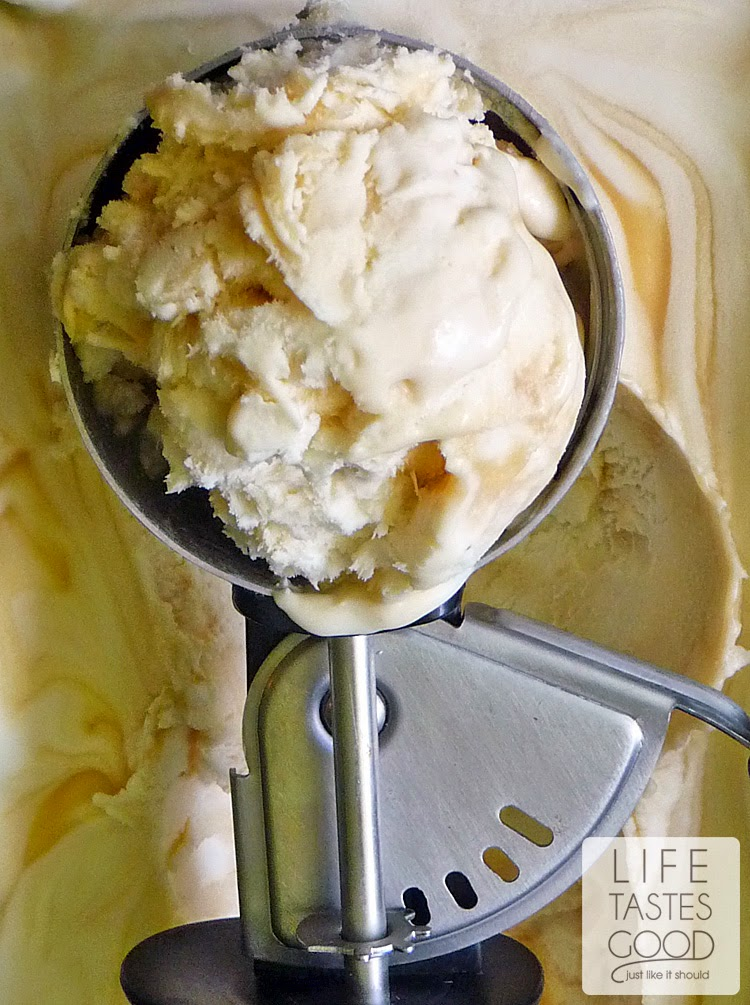 Salted Caramel Ice Cream | by Life Tastes Good is a no churn ice cream you can make in about 5 minutes with just 3 ingredients! #IceCreamWeek #NoChurn