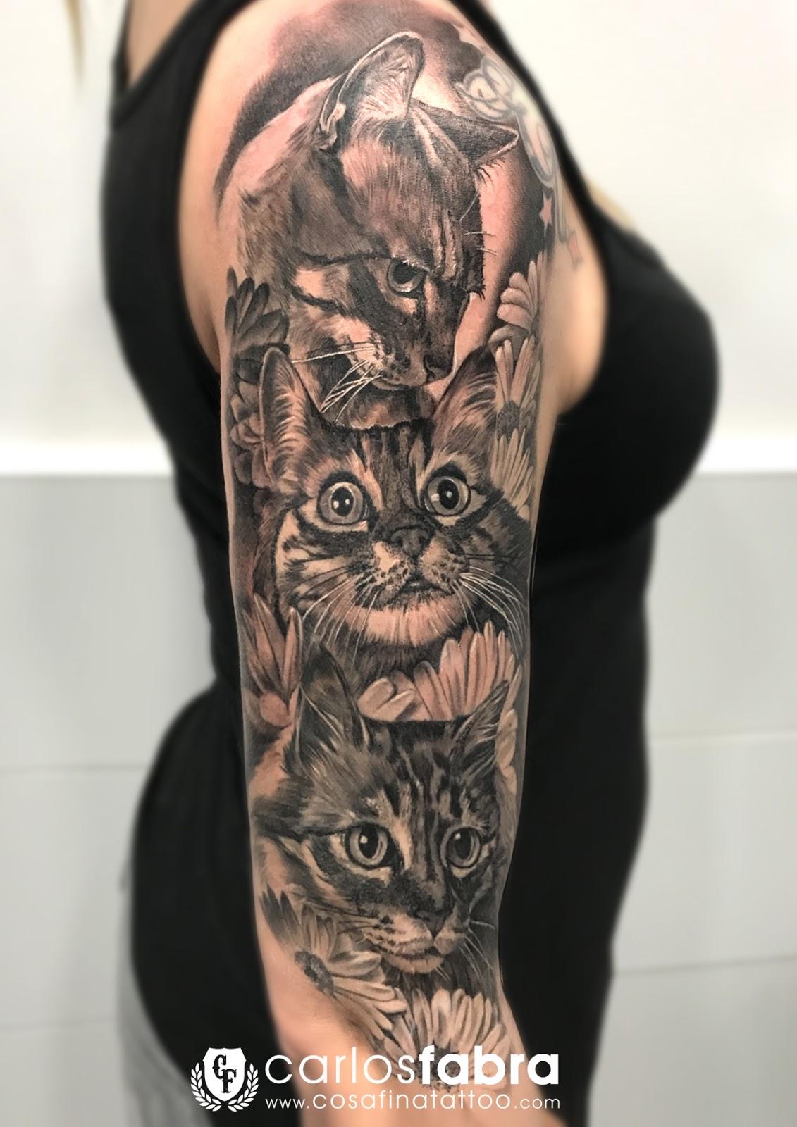 Cosafina Tattoo Carlos Art Studio Tatuaje Brazo Animales Mascotas