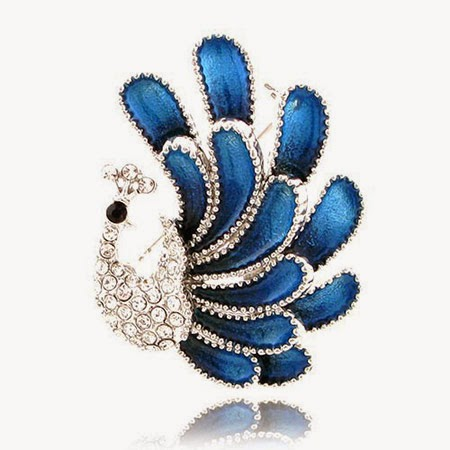 Noble flash diamond peacock brooch pin