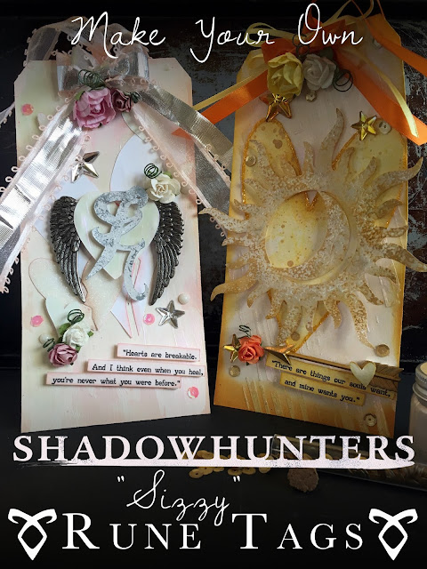 Healing the Soul:  Sizzy Themed Shadowhunters Rune Tags by Alice Scraps Wonderland |  These mixed media tags are the perfect DIY decoration for your next Shadowhunters party!  Visit the blog for more information on how to make these Isabelle Lightwood and Simon Lewis tags.