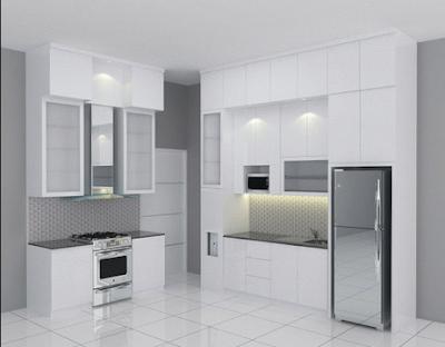 model lemari dapur putih mewah