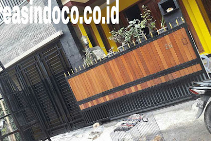 Pintu Pagar Besi Kombinasi Kayu Pemasangan Di Bali