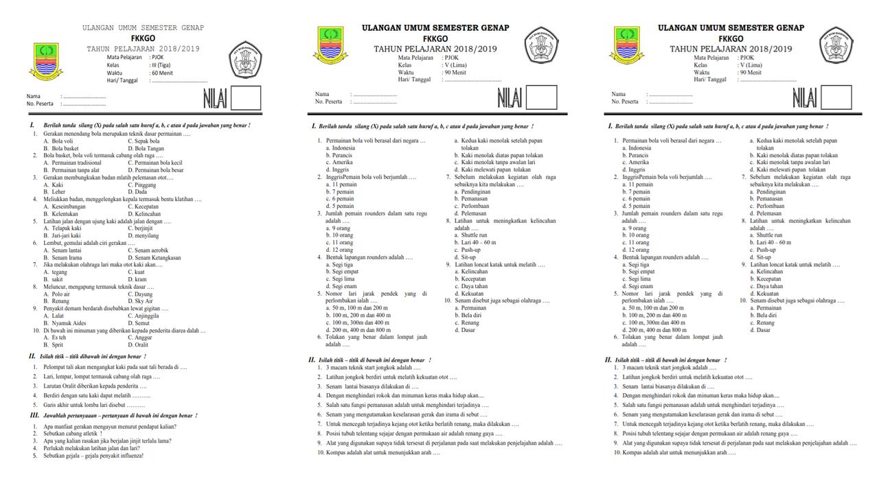 Soal UKK/PAT/PAS PJOK Kelas 5 SD Semester 2