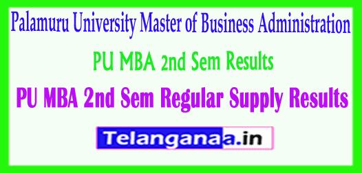 PU MBA Palamuru University MBA 2nd Sem Regular Supply Results