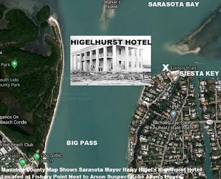 Manatee County Map Shows Harry Higel's Higelhurst Hotel at north end Gulfmeade Dr Siesta Key Fl
