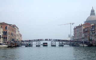 The pontoon bridge across the Grand Canal constructed each year to mark the Festa of Madonna della Salute