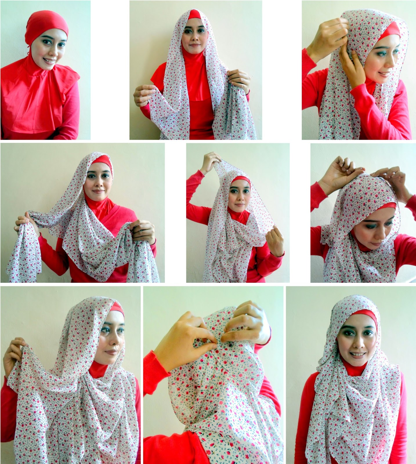 Tutorial Hijab Pashmina Bahan Sifon Motif Bunga Review Harga Terbaru
