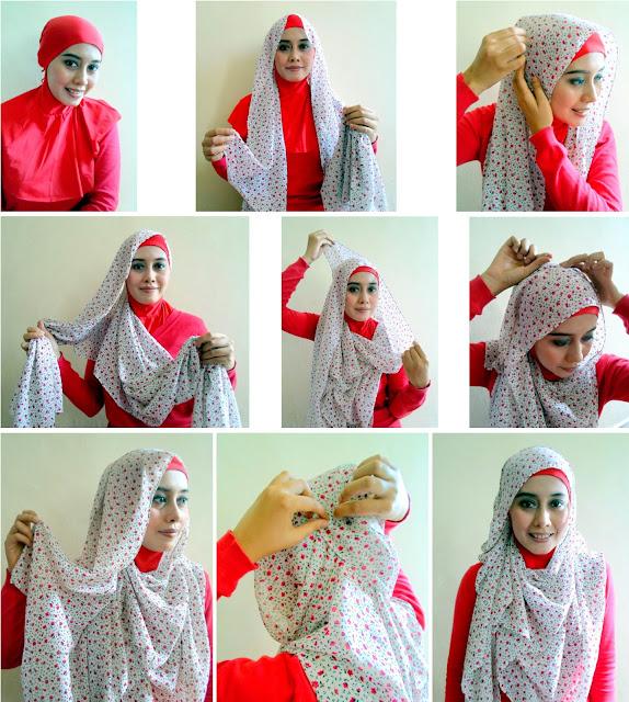 Tutorial Hijab Pashmina Bahan Sifon Motif Bunga Kumpulan Contoh