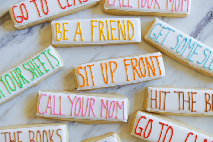 college advice decorated cookies | bakeat350.net