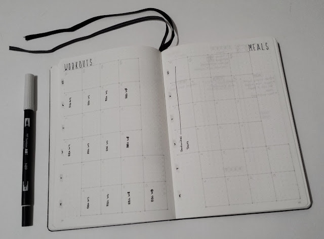 February Bullet Journal Monthly Workout Planner Meal Planning 2017
