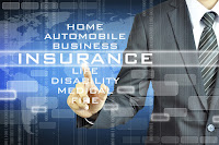 image of someone at a virtual computer screen.  Text: Home, Auto, Business Insurance