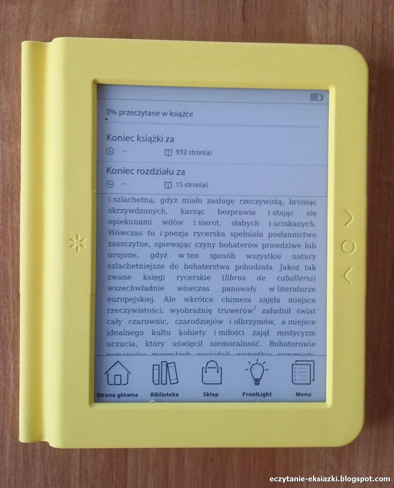 Menu wywoływane z poziomu e-booka. W górnej częsci ekranu informacja o postępach w lekturze