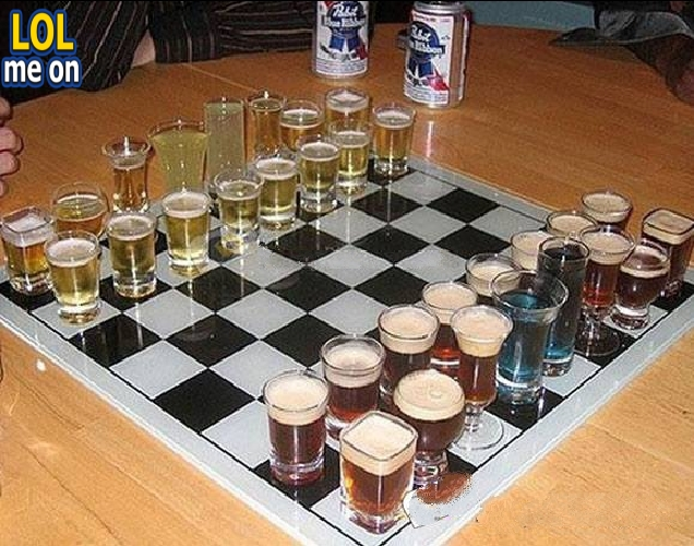 "funny like a boss picture shows two mans playing chess with drink cup from ""LOL me on"""