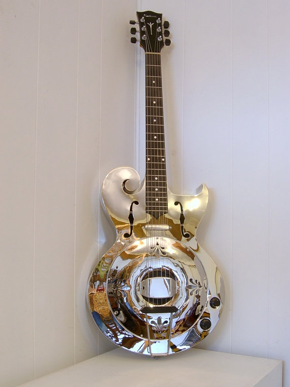 image Florentine Cutaway Scroll Body Resonator Guitar
