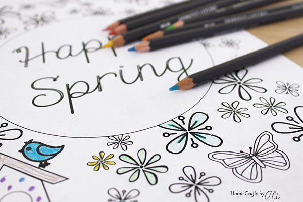 print spring theme coloring page for relaxation