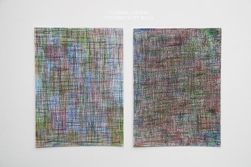 2 x bunte abstrakte Zeichnung/ Malerei, Aquarellstifte auf Aquarellpapier, September 2017 [Je 28,5 x 21cm]