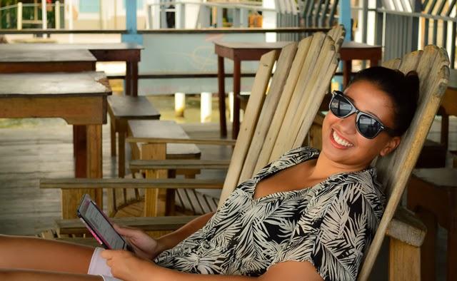 Reading in the afternoon in Utila Honduras