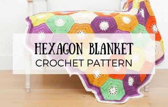 Crochet hexagon blanket, crochet pattern | Happy in Red
