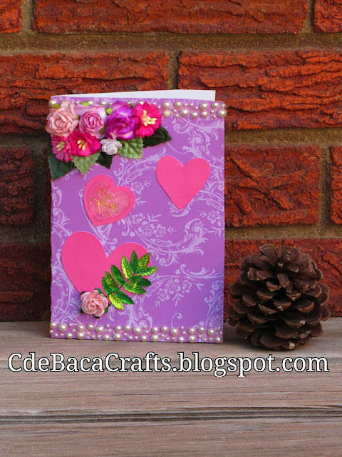 Valentines Day Handmade Card by CdeBaca Crafts.