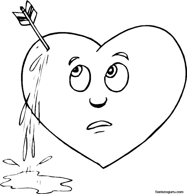 Day Pierced Heart Coloring Page  Printable Coloring Pages For Kids