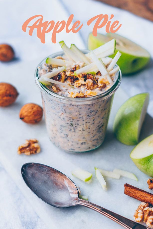 Apple Pie Overnight Oat. Need more recipes? Find 21 Easy and Healthy Vegan Oat RecipesTo Make Best Weight Loss Breakfast Ever! vegan breakfast oatmeal | yummy oatmeal recipes | breakfast oatmeal recipes | oatmeal recipes breakfast healthy | oatmeal diet weightloss #oats #oat #veganmeal #vegan