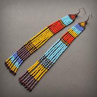 купить цветные серьги до плеч из бисера украшения подарок крым