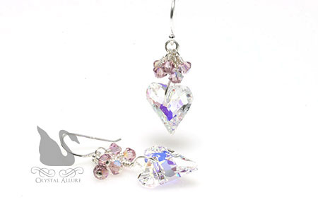 Vintage-Style Twisted Heart Swarovski Crystal Earrings (EC157)