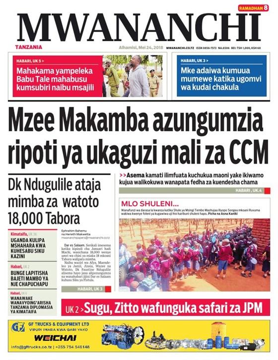 Habari Zilizopo Katika Magazeti ya Leo Alhamisi ya May 24.