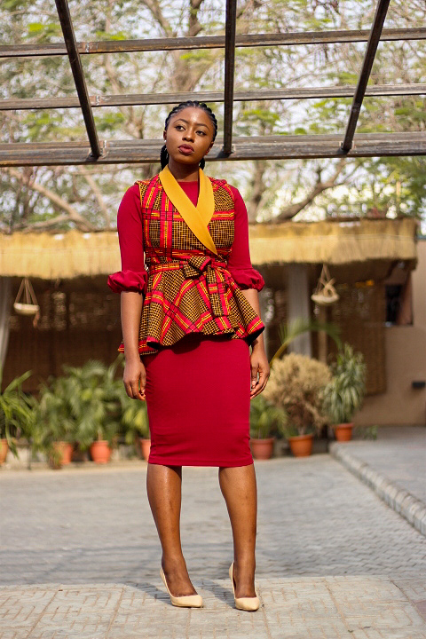 ankara print peplum jacket with burgundy dress