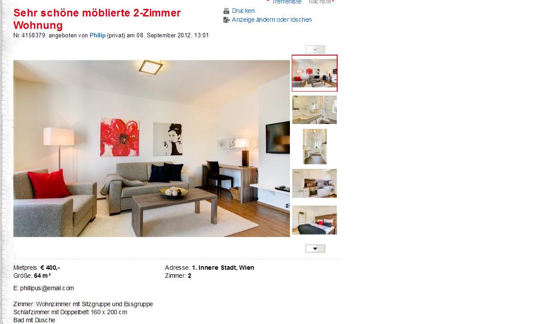 sehr sch ne m blierte 2 zimmer wohnung innere stadt wien. Black Bedroom Furniture Sets. Home Design Ideas