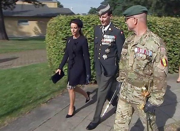 Prince Joachim and Princess Marie attend the wreath-laying ceremony at Skive Barracks. Princess Marie wore floral dress