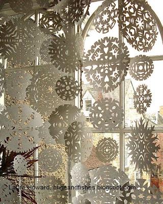 paper snowflake window curtain