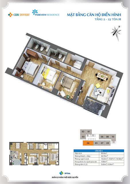 Thiết kế căn hộ 04 chung cư Park View Residence