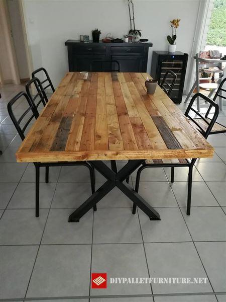 esprit lof rcup nos ensea esta genial mesa hecha con tablas de palets y hierro forjado la superficie de las sillas tambin se ha realizado utilizando - Mesa Con Palets