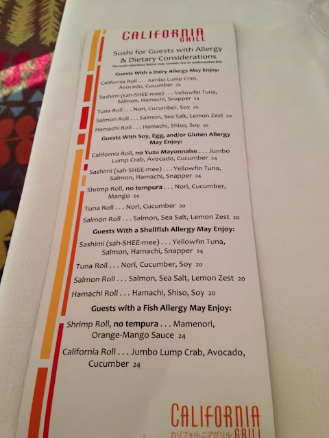 Food Allergy California Grill Sushi Menu