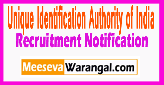 UIDAI Unique Identification Authority of India Recruitment Notification