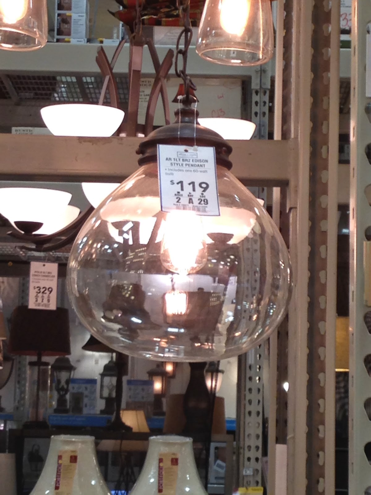 Allen + Roth clear glass globe pendant
