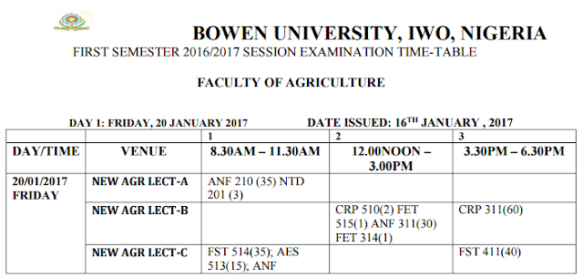 Bowen University 2016/2017 1st Semester Examination Time-Table Is Out