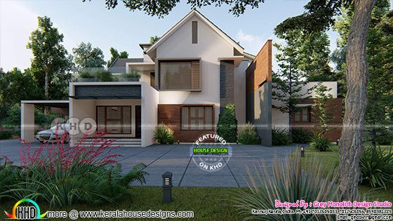 3600 sq-ft 5 bedroom modern sloped roof home