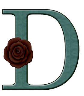 Abecedario Verde Azulado con Rosas Corintas. Blue-Green Alphabet with Maroon Roses. Falta la L.