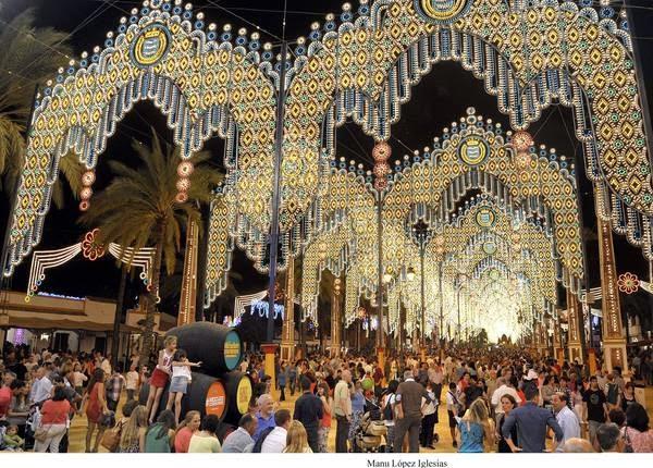 Aquí vemos el precioso alumbrado de la Feria de Jerez.