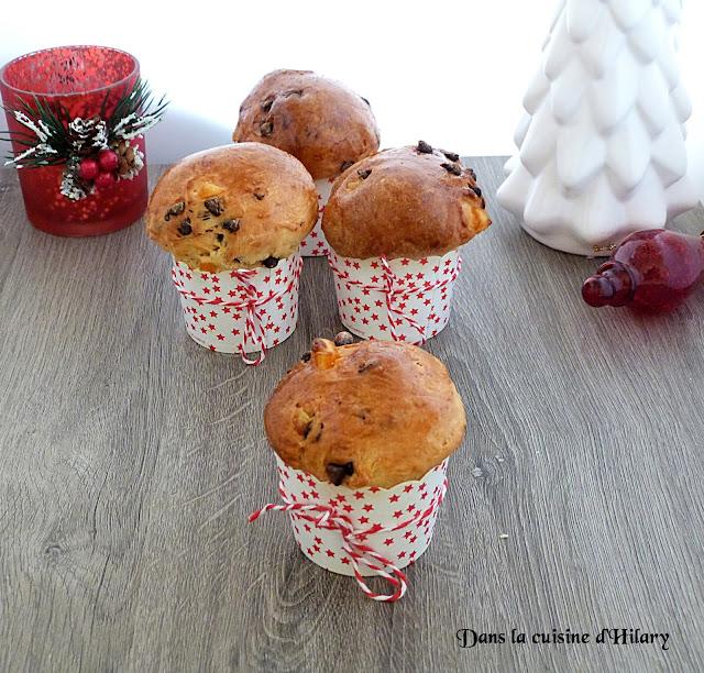 Mini panettone aux pépites de chocolat et oranges confites