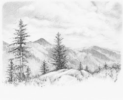 nature drawing pencil sketch drawings easy sketches landscape scenery landscapes scenes forest