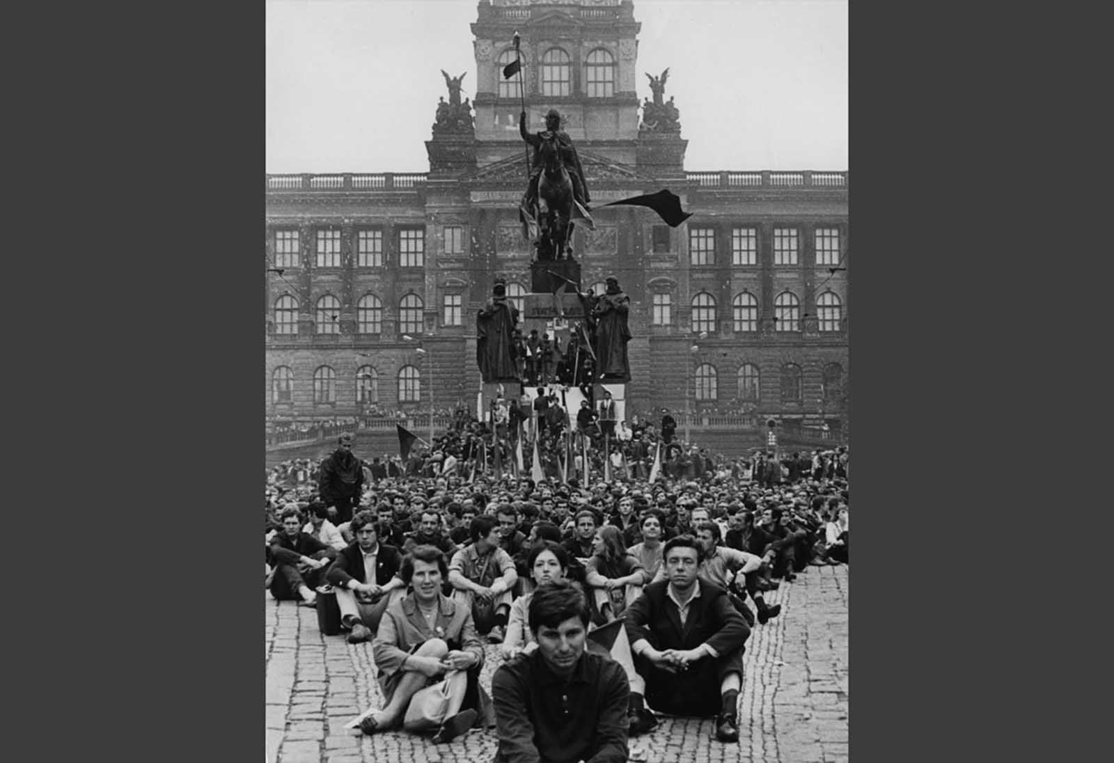 Thousands of protesters sit in Wenceslas Square, in downtown Prague, on August 24, 1968, demonstrating against the Soviet invasion.